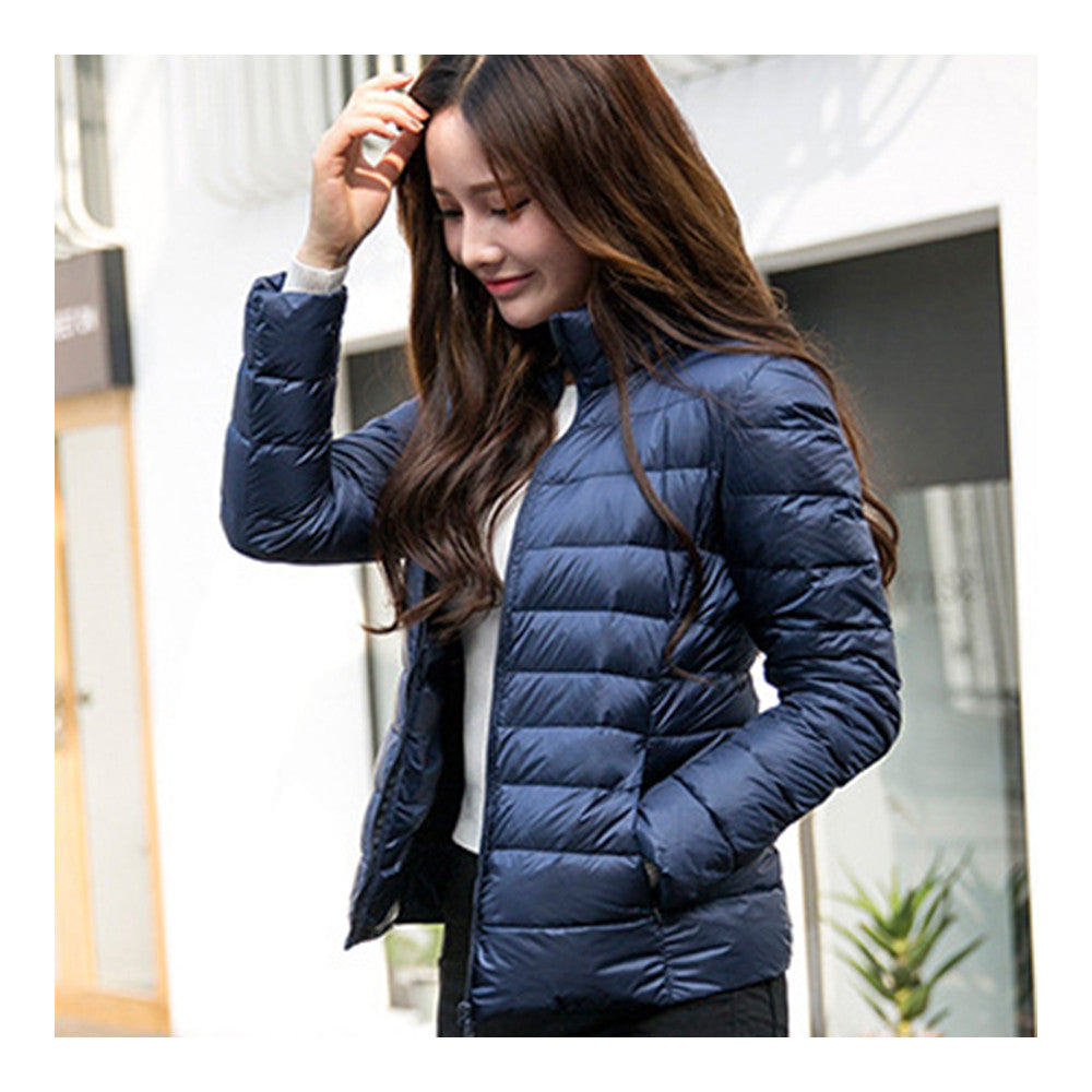 Woman Stand Collar Thin Light Down Coat Slim   navy   S - Mega Save Wholesale & Retail - 2