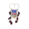 European Fashionable Big Brand Necklace Exaggerated Feather Tassel Necklace Vintage Elegant Temperament   dark blue - Mega Save Wholesale & Retail - 4