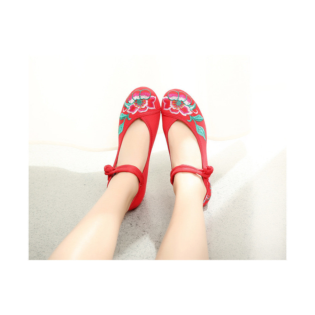 Spring Mary Jane Chinese Shoes in High Heeled Vintage Old Beijing Style & Red Shade with Ankle Straps - Mega Save Wholesale & Retail - 1