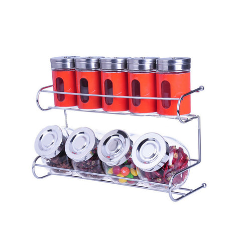 9 Canister Metal & Glass Spice Shakers Glass Jars 2 Tier Wire Rack Display    red - Mega Save Wholesale & Retail - 1