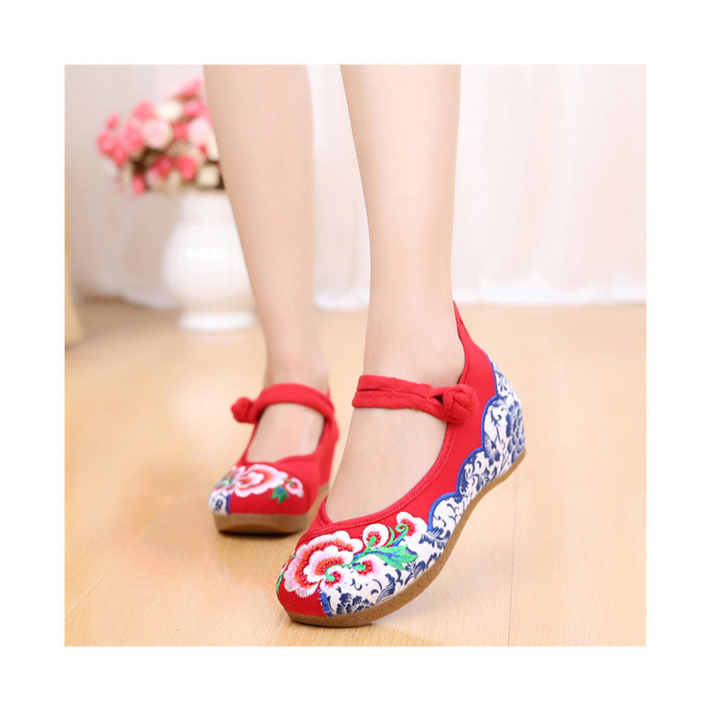 Old Beijing Cloth Red Embroidered Shoes for Women Online in National Style with Beautiful Floral Designs - Mega Save Wholesale & Retail - 1