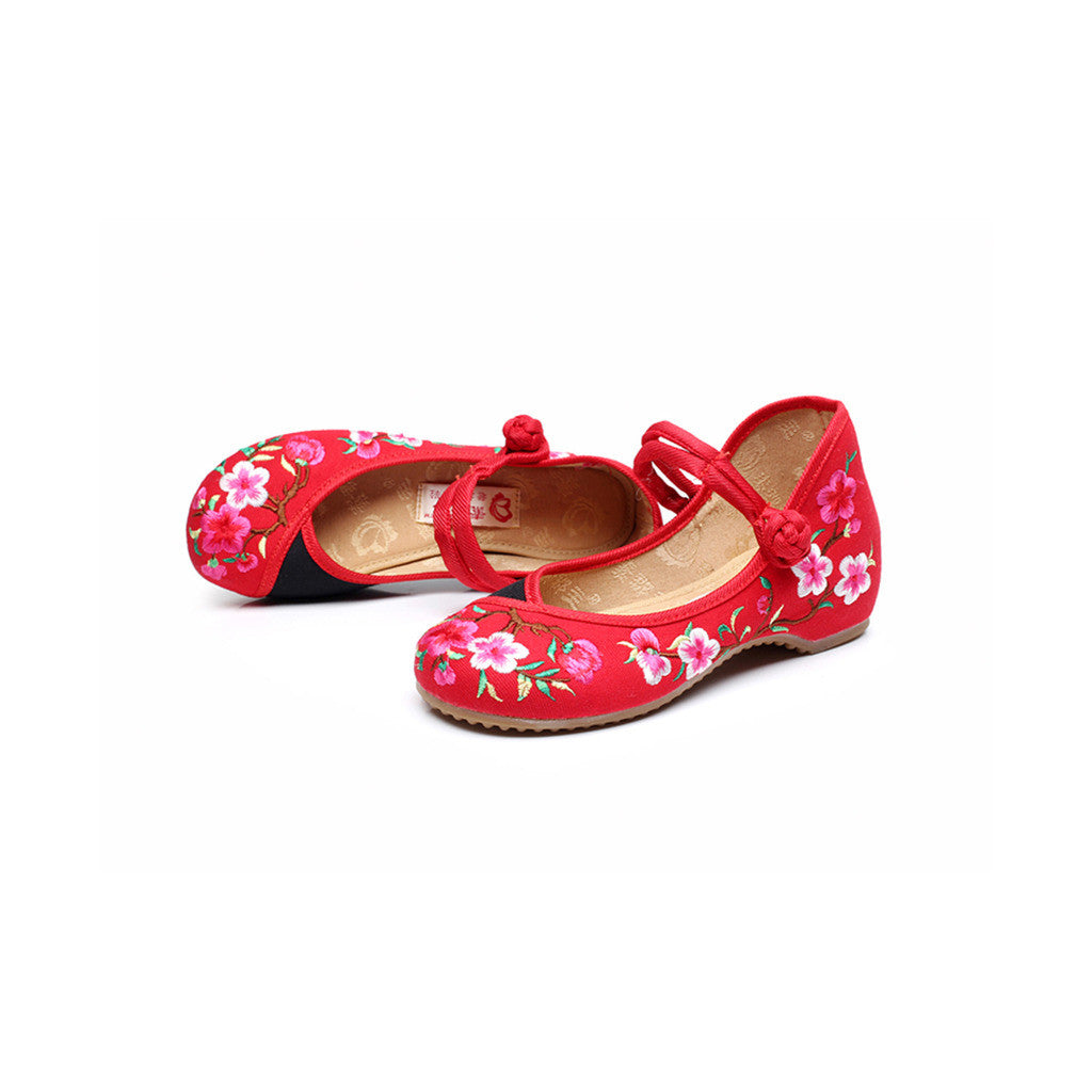 Spring Peach Flower National Style Vintage Chinese Embroidered Shoes for Women in Fashionable Red Shade - Mega Save Wholesale & Retail - 1
