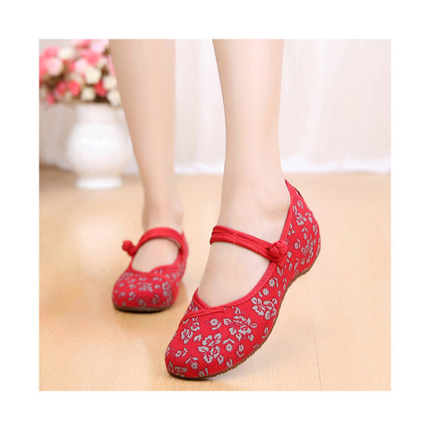 Old Beijing Cloth Shoes Slipsole Small Flower National Style Embroidered Shoes Dance Cloth Shoes Increased within Mom Woman Shoes red - Mega Save Wholesale & Retail - 1