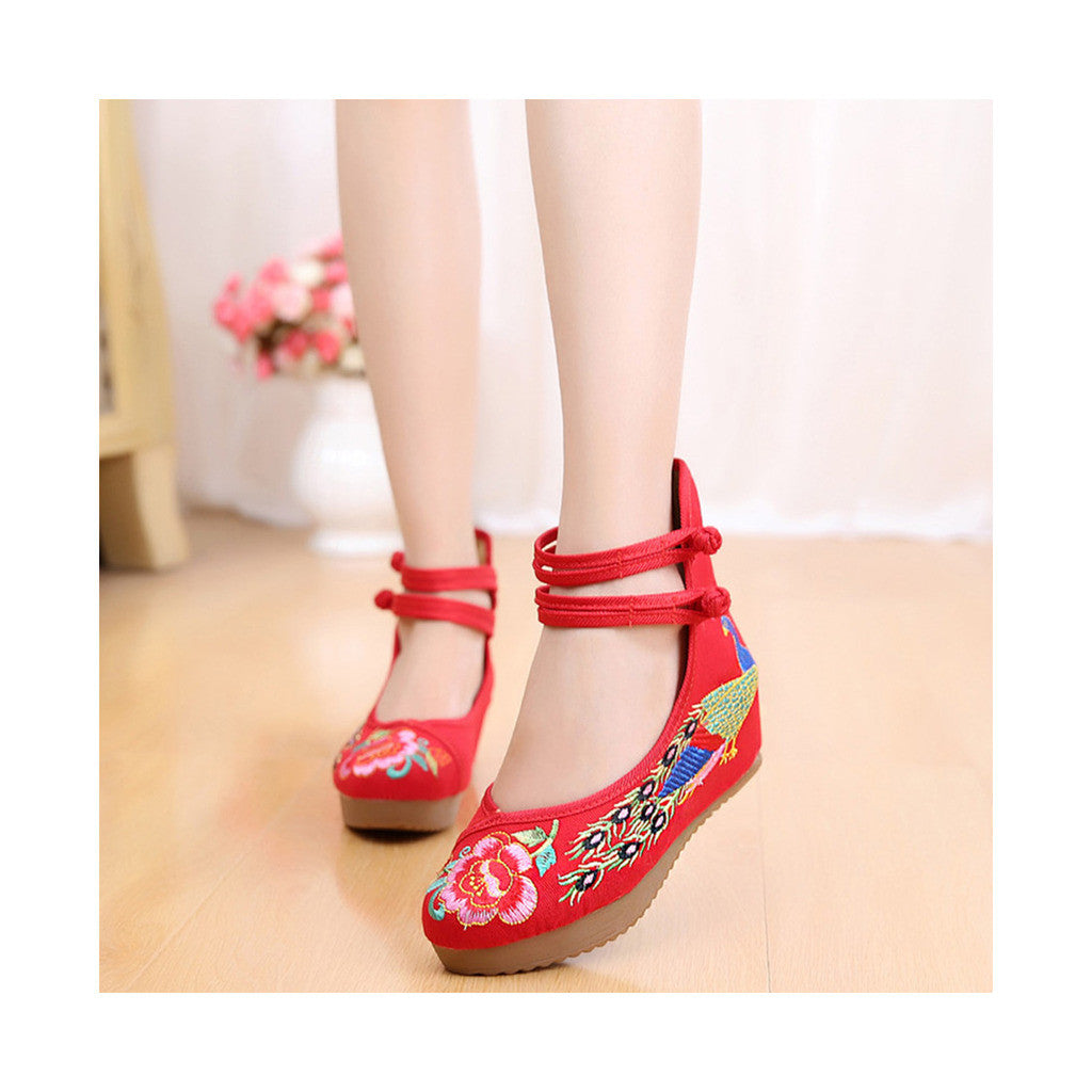 Old Beijing Red High Heels Shoes in Traditional Chinese Embroidery with Slipsole & Ankle Straps - Mega Save Wholesale & Retail - 1