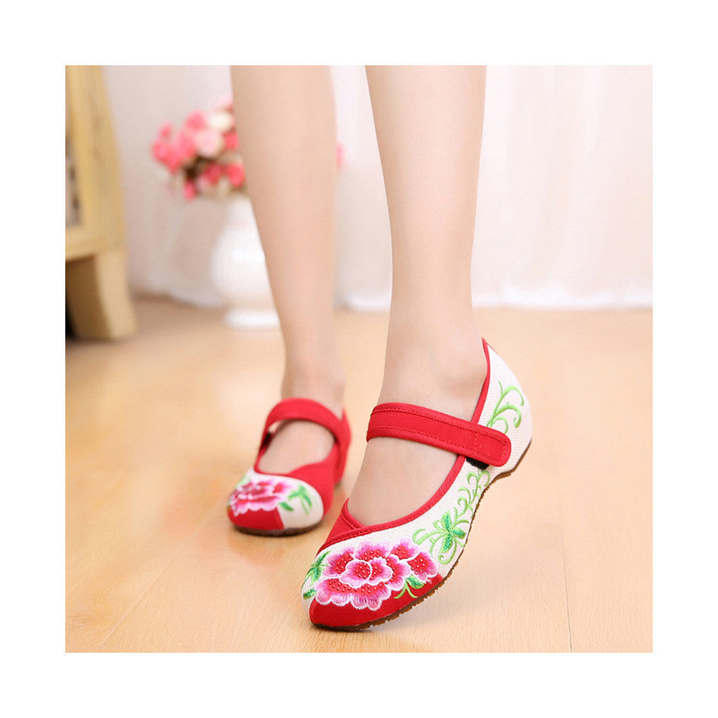 Old Beijing Red Casual Embroidered Shoes for Women Low Cut National Style with Beautiful Floral Designs & Ankle Straps - Mega Save Wholesale & Retail - 1