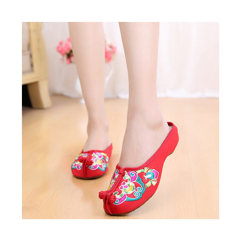 Old Beijing Cloth Shoes Summer Woman Cowhells Sole Embroidered Shoes Slipsole Vintage National Style Flax Sandals Slippers red - Mega Save Wholesale & Retail - 1