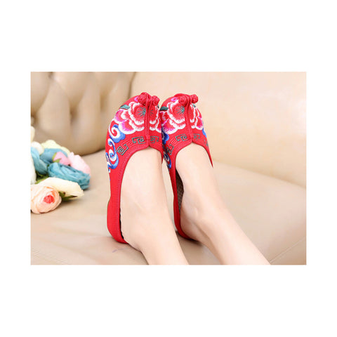 Old Beijing Red Embroidered Shoe Slippers for Women Online in Slipsole National Style with Colorful Patterns - Mega Save Wholesale & Retail - 1