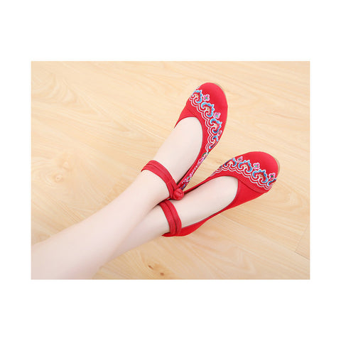 2016 Spring Embroidered High Heeled Shoes in Red with National Dancing Style - Mega Save Wholesale & Retail - 1