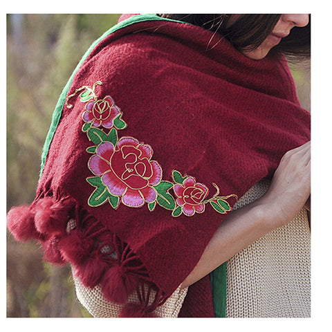 Spring Festival's Gift Literary Cashmere National Style Embroidery Scarf Cotton and Linen Autumn Winter New Embroidery Wrap Scarf   wine red - Mega Save Wholesale & Retail - 1
