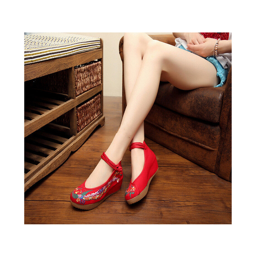 Colorful Phoenix Embroidered Red High Heel Shoes for Woman in Ankle Straps - Mega Save Wholesale & Retail - 1