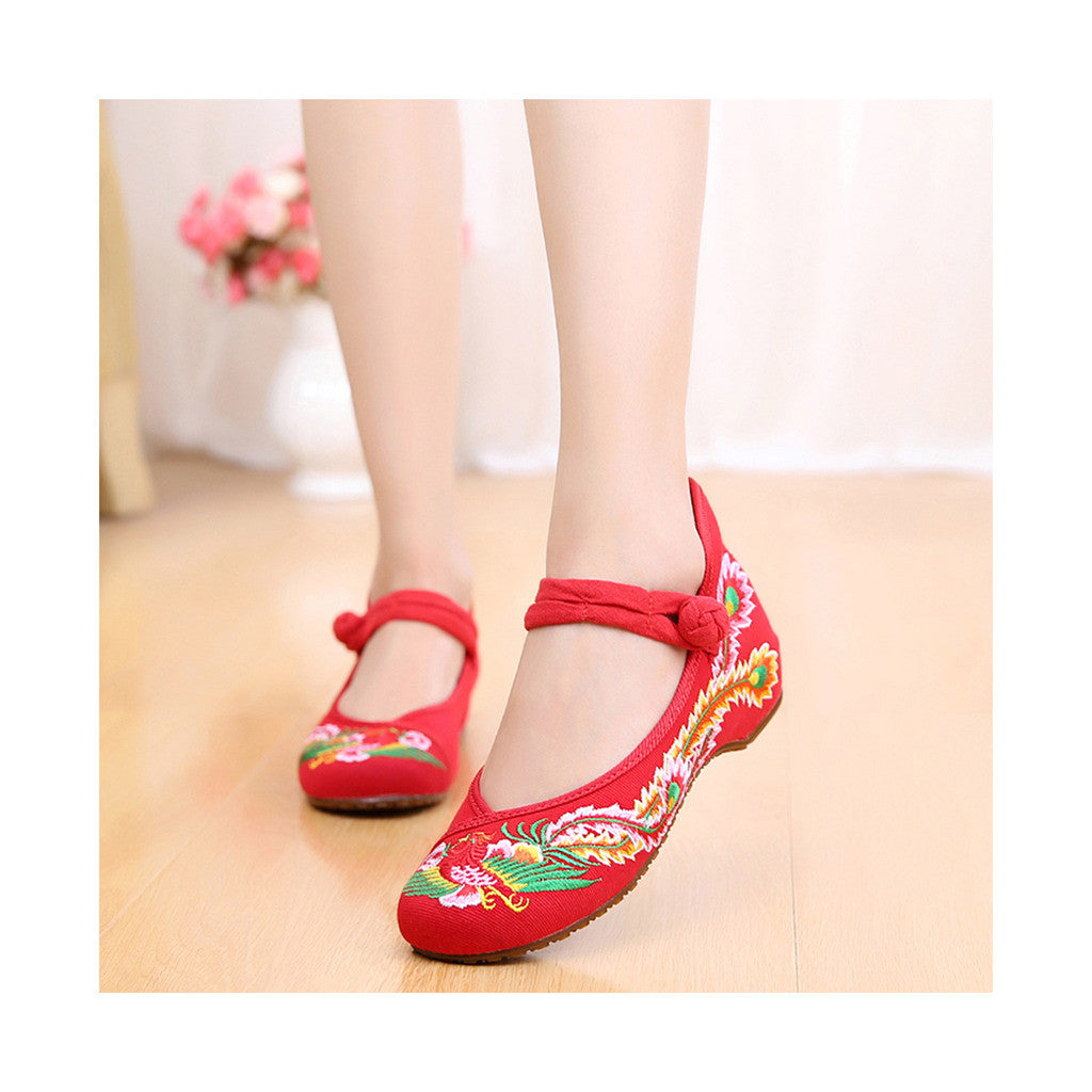 Colorful Phoenix Old Beijing Embroidered Cloth Shoes Woman National Style Square Dance  red - Mega Save Wholesale & Retail - 1