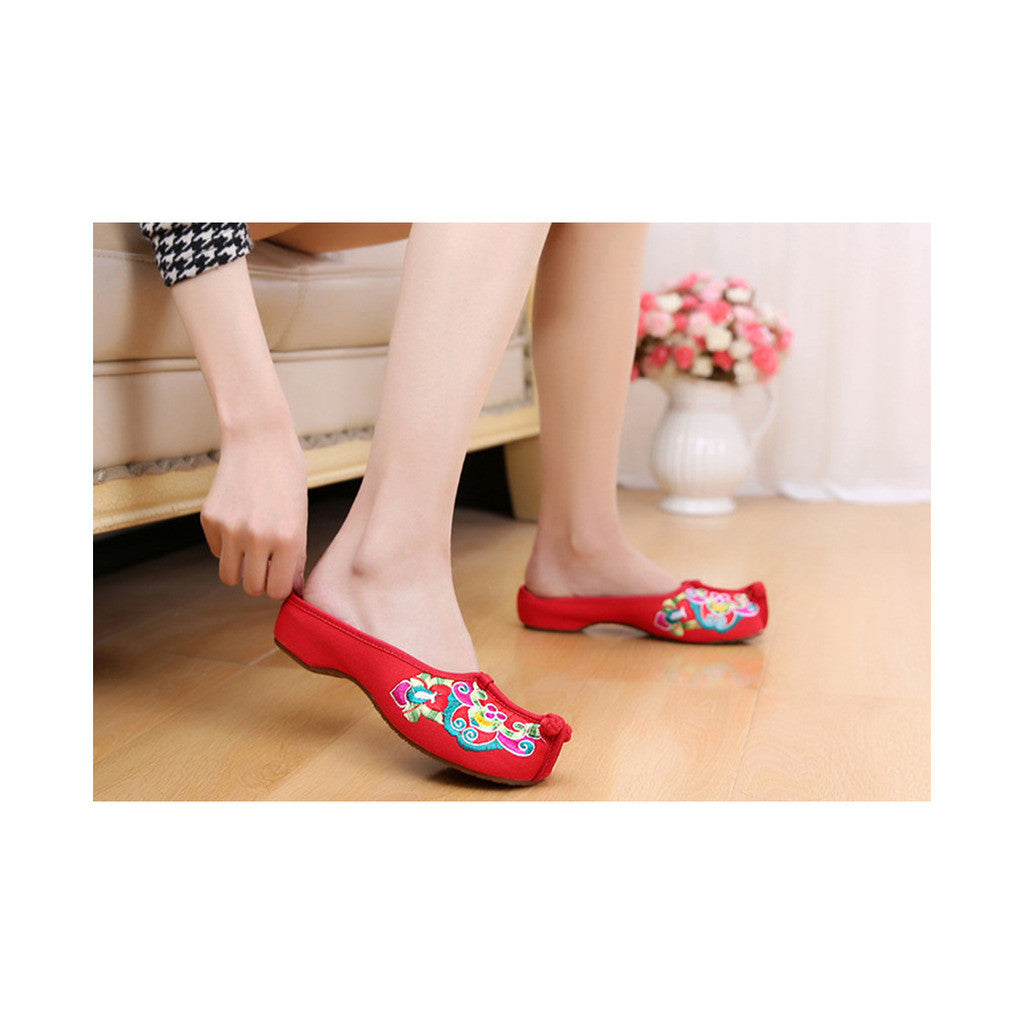 Old Beijing Cloth Shoes Summer Woman Cowhells Sole Embroidered Shoes Slipsole Vintage National Style Flax Sandals Slippers red - Mega Save Wholesale & Retail - 2
