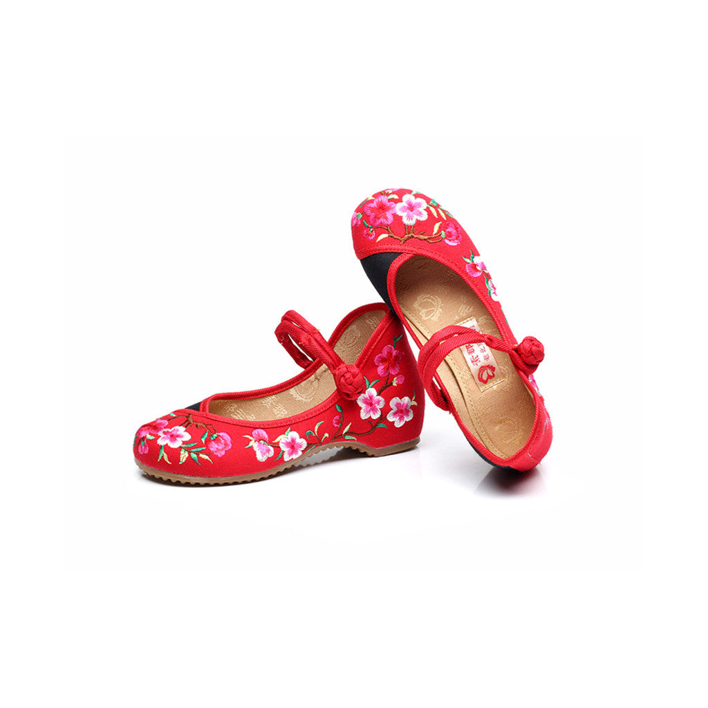 Spring Peach Flower National Style Vintage Chinese Embroidered Shoes for Women in Fashionable Red Shade - Mega Save Wholesale & Retail - 2