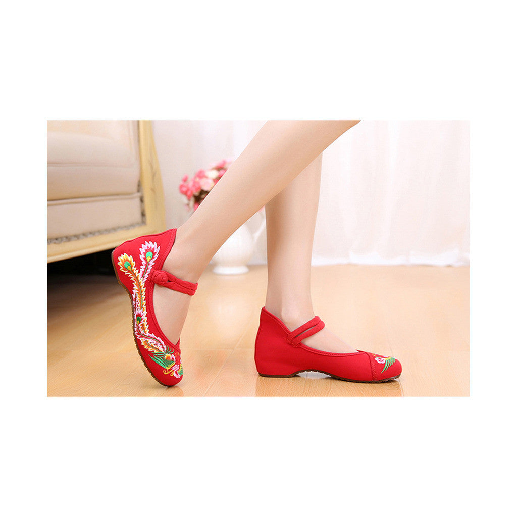 Colorful Phoenix Old Beijing Embroidered Cloth Shoes Woman National Style Square Dance  red - Mega Save Wholesale & Retail - 2
