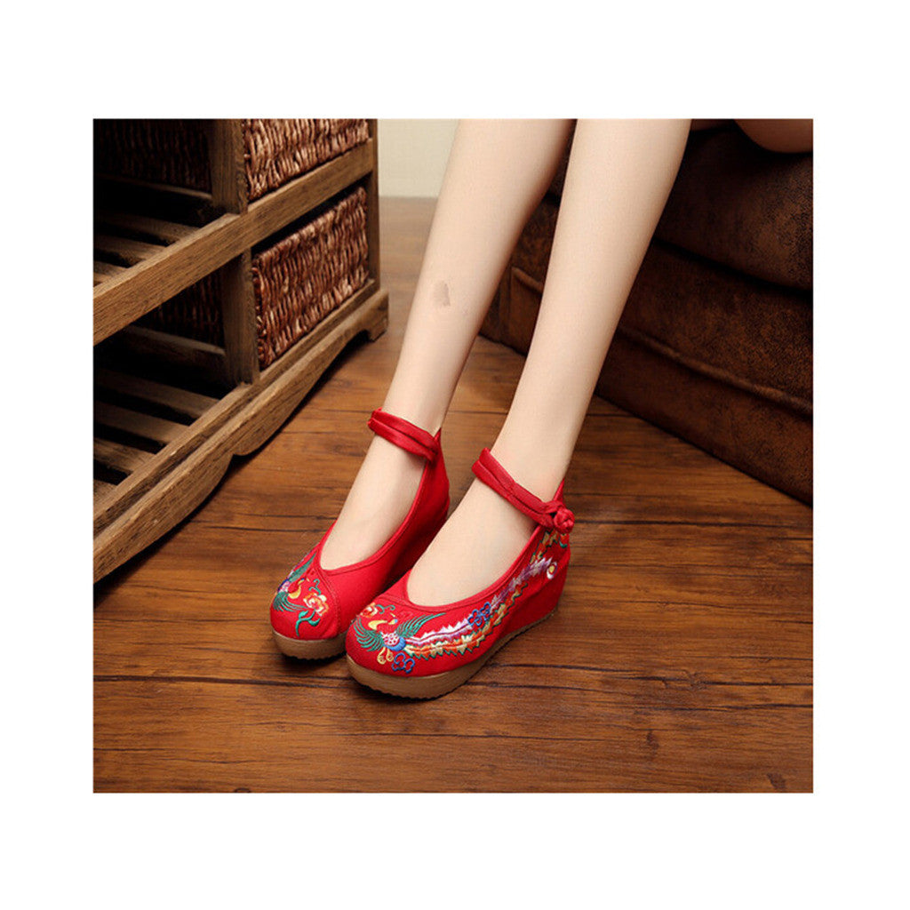 Colorful Phoenix Embroidered Red High Heel Shoes for Woman in Ankle Straps - Mega Save Wholesale & Retail - 2