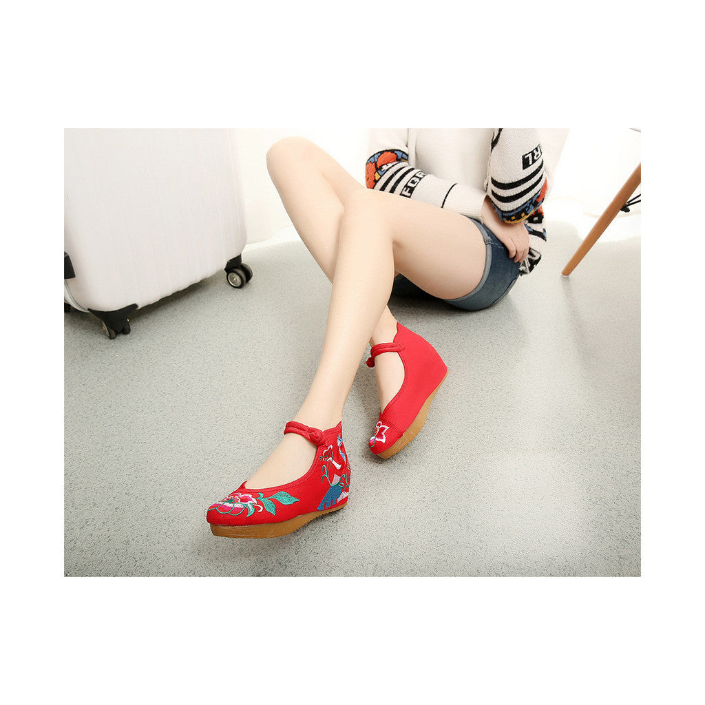 Spring Mary Jane Chinese Shoes in High Heeled Vintage Old Beijing Style & Red Shade with Ankle Straps - Mega Save Wholesale & Retail - 2