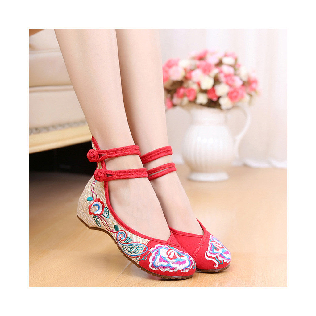 Old Beijing Red Embroidered Slipper Shoes in Double Ankle Straps with Comfy Anti Skidding Sole - Mega Save Wholesale & Retail - 2
