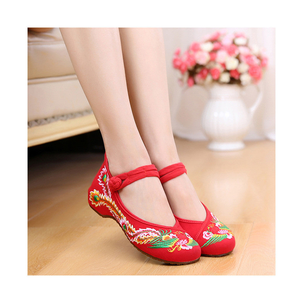 Colorful Phoenix Old Beijing Embroidered Cloth Shoes Woman National Style Square Dance  red - Mega Save Wholesale & Retail - 3