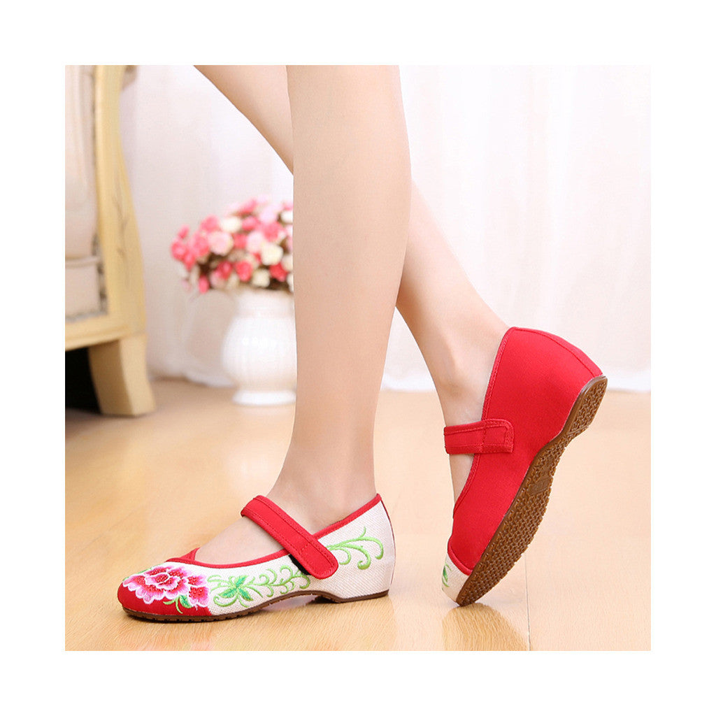 Old Beijing Red Casual Embroidered Shoes for Women Low Cut National Style with Beautiful Floral Designs & Ankle Straps - Mega Save Wholesale & Retail - 3