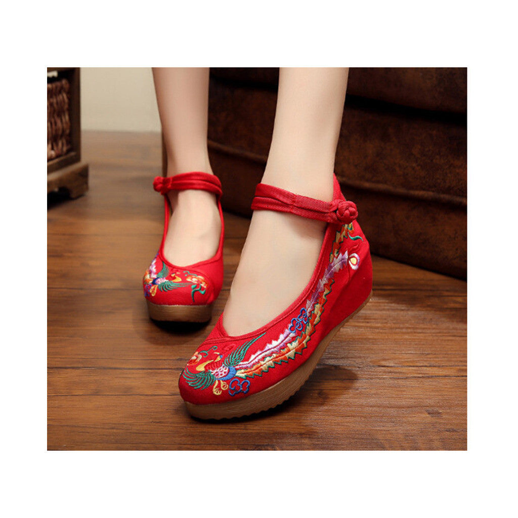 Colorful Phoenix Embroidered Red High Heel Shoes for Woman in Ankle Straps - Mega Save Wholesale & Retail - 3