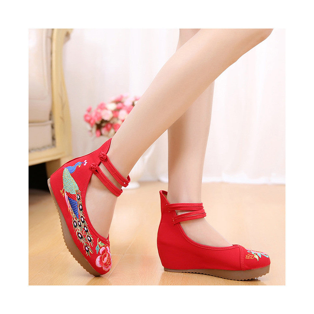 Old Beijing Red High Heels Shoes in Traditional Chinese Embroidery with Slipsole & Ankle Straps - Mega Save Wholesale & Retail - 3