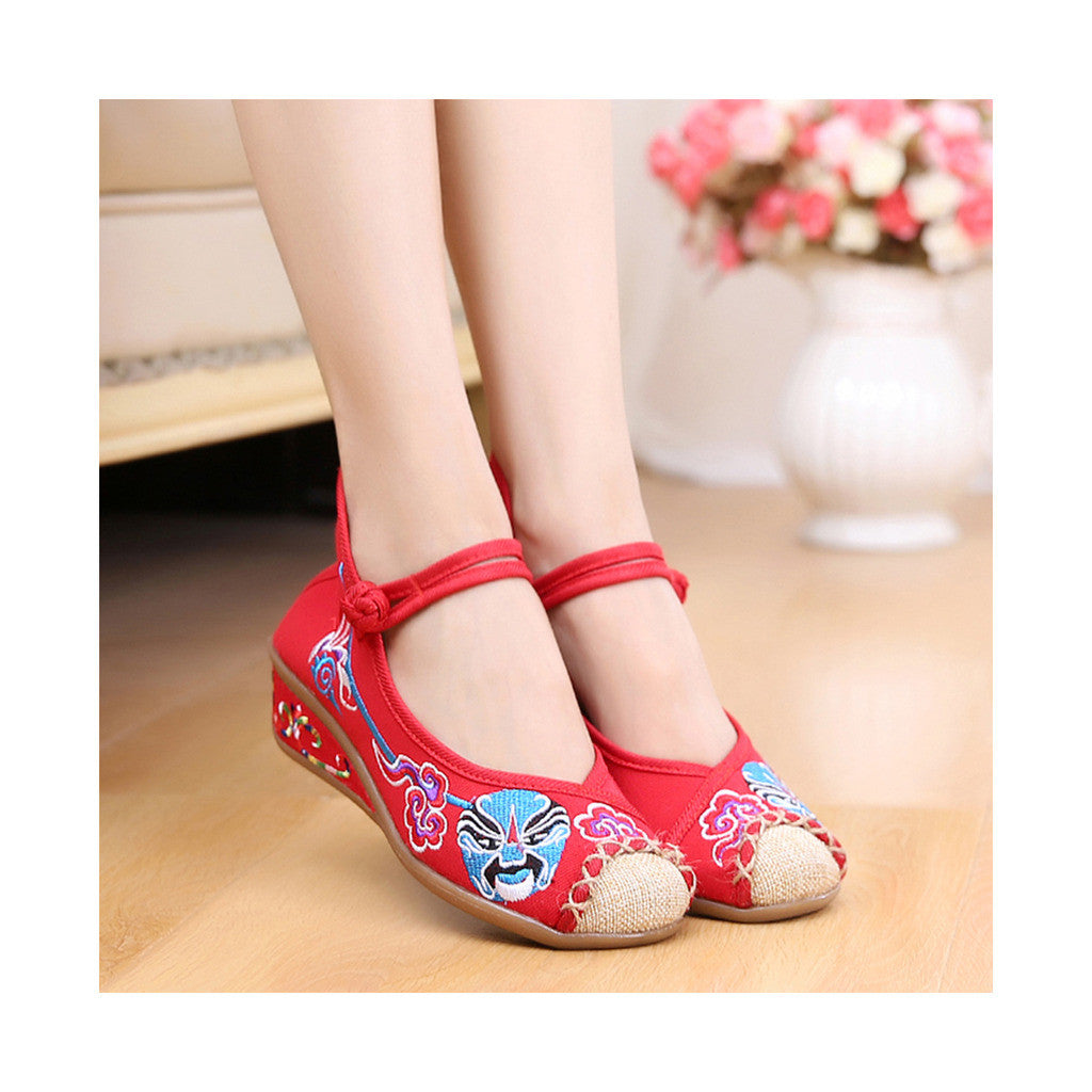 Red Old Beijing Cloth Shoes Online in National Slipsole Low Cut Style & Soft Inner Design - Mega Save Wholesale & Retail - 3
