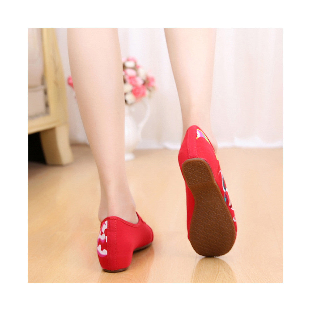Old Beijing Cloth Shoes Summer National Style Embroidered Shoes Increased within Square Dance Shoes Mom Vintage Shoes red - Mega Save Wholesale & Retail - 3