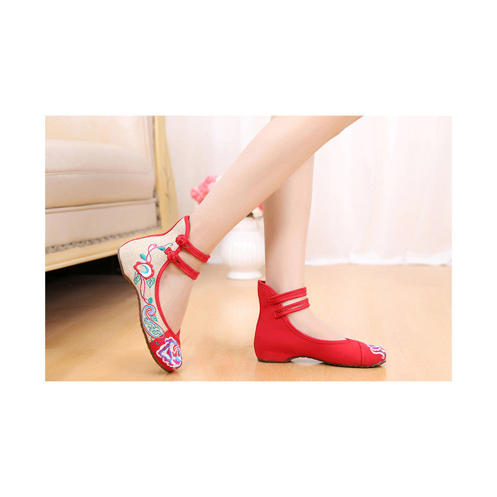 Old Beijing Red Embroidered Slipper Shoes in Double Ankle Straps with Comfy Anti Skidding Sole - Mega Save Wholesale & Retail - 3