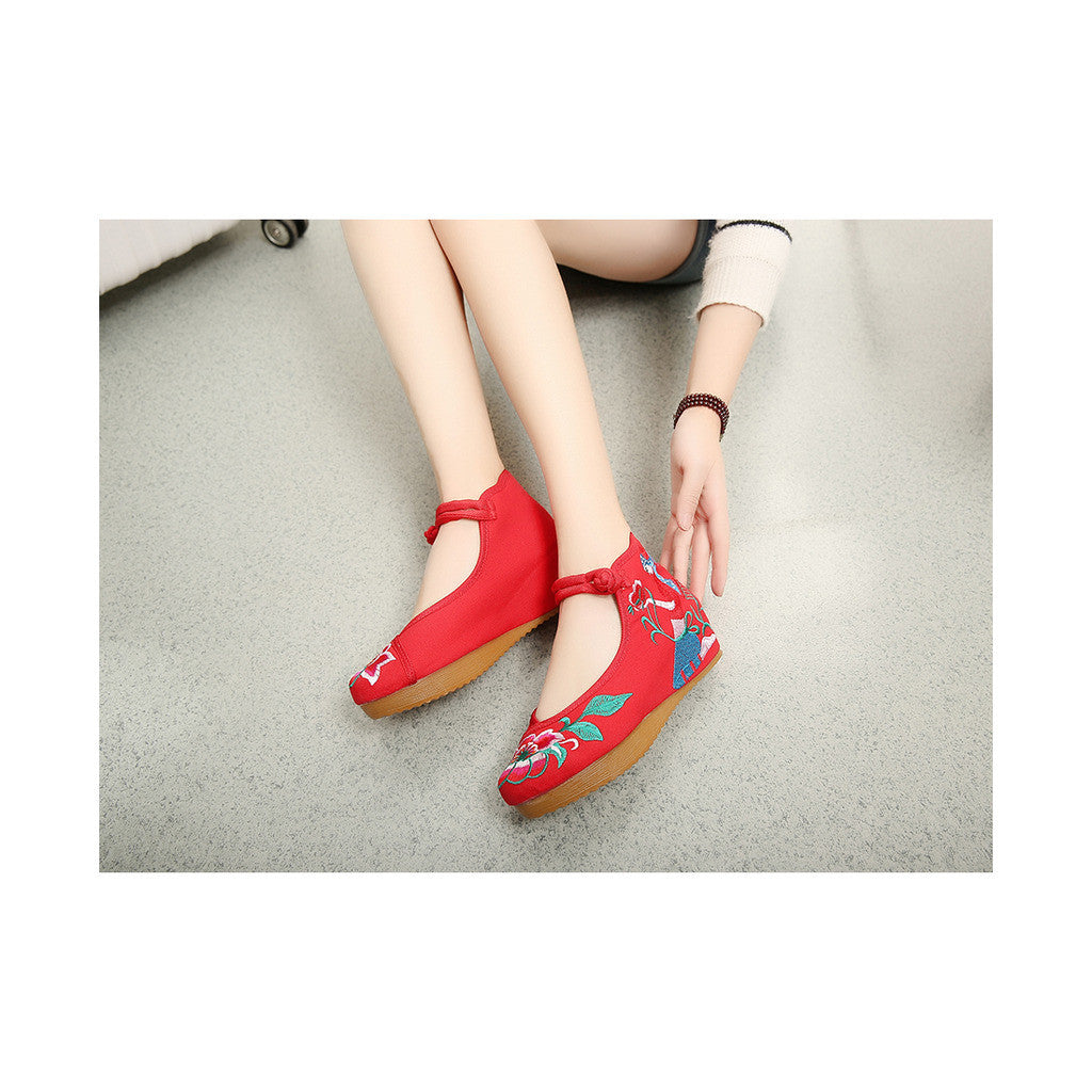 Spring Mary Jane Chinese Shoes in High Heeled Vintage Old Beijing Style & Red Shade with Ankle Straps - Mega Save Wholesale & Retail - 3
