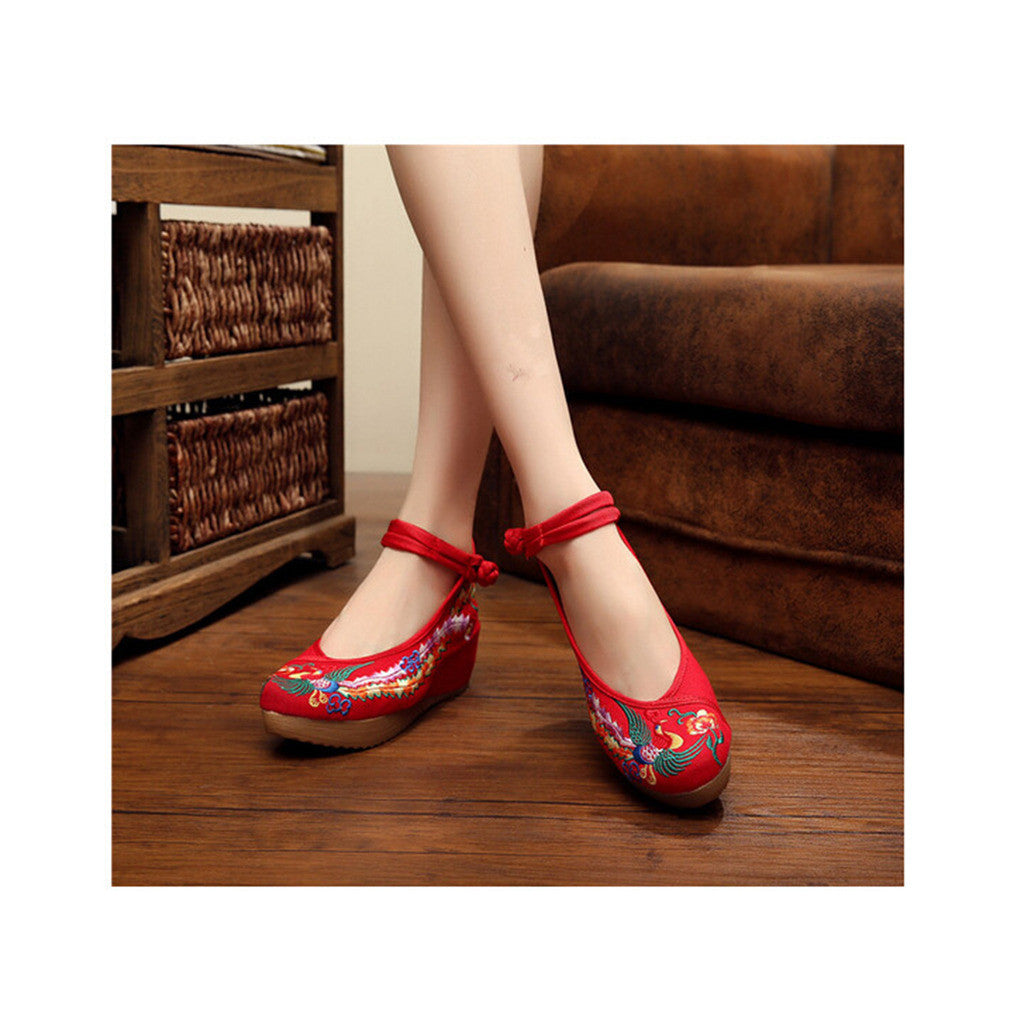 Colorful Phoenix Embroidered Red High Heel Shoes for Woman in Ankle Straps - Mega Save Wholesale & Retail - 4