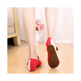 Old Beijing Cloth Shoes Assorted Colors Casual Embroidered Shoes Tie Slipsole Increased within Low Cut National Style red - Mega Save Wholesale & Retail - 4
