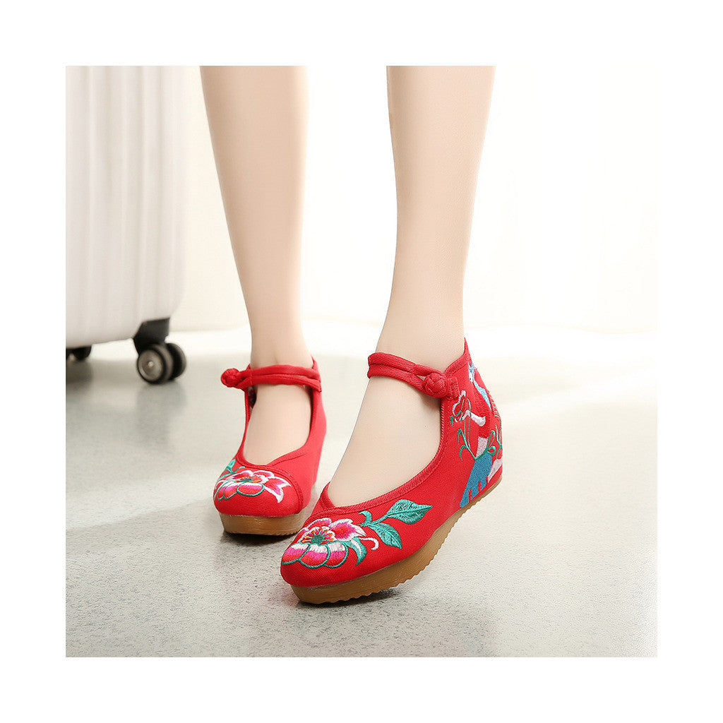Spring Mary Jane Chinese Shoes in High Heeled Vintage Old Beijing Style & Red Shade with Ankle Straps - Mega Save Wholesale & Retail - 4