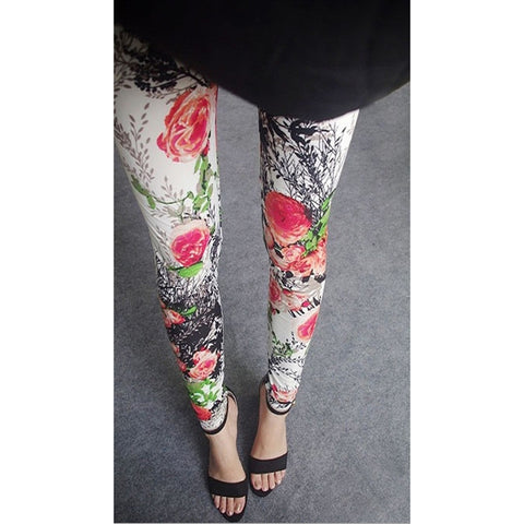 Womens sexy leggings Stretchy fit skin pants trousers Chinese traditional ink Pattern Red flowers - Mega Save Wholesale & Retail