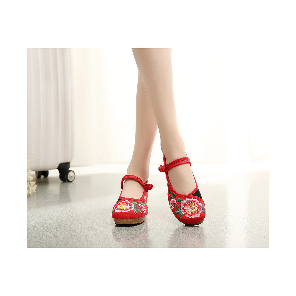 Spring National Style Embroidered Shoes Online for Women in Red & Black Shade, Ankle Straps & Flower Patterns - Mega Save Wholesale & Retail - 4