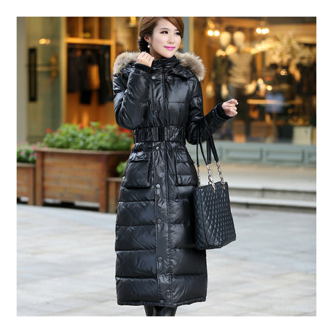 Big Fur Collar Plus Size Extra Long Thick Slim Down Coat   black    S - Mega Save Wholesale & Retail - 1