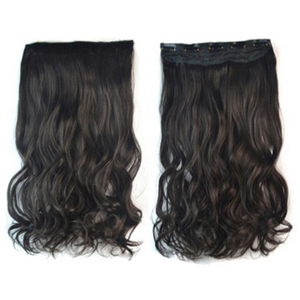 Thick Hair Extension Long Curled Hair 5 Cards Wig black brown - Mega Save Wholesale & Retail - 1