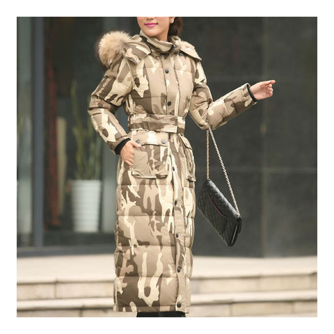 Big Fur Collar Plus Size Extra Long Thick Slim Down Coat    camouflage    S - Mega Save Wholesale & Retail - 1