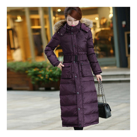 Big Fur Collar Plus Size Extra Long Thick Slim Down Coat   purple    S - Mega Save Wholesale & Retail - 1