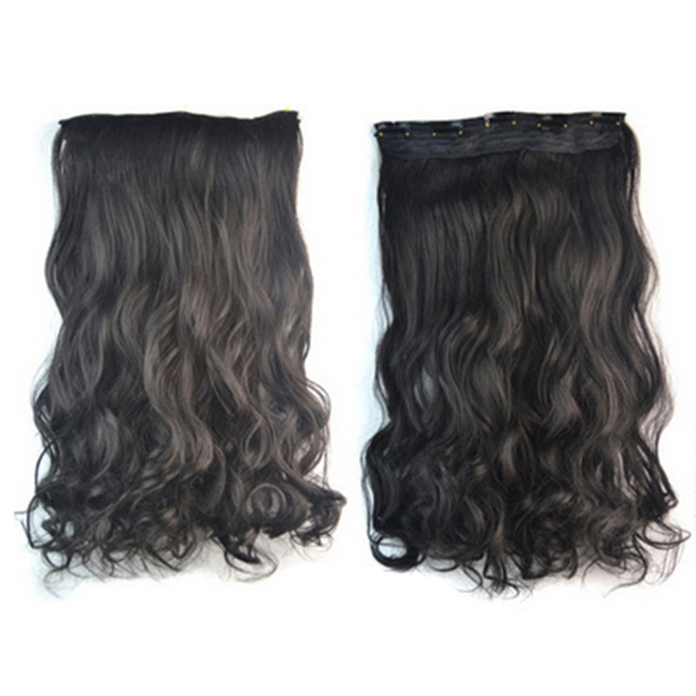Thick Hair Extension Long Curled Hair 5 Cards Wig natural black - Mega Save Wholesale & Retail - 1