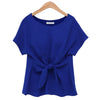 Chiffon T-shirt Bowknot Lace-up   blue    S - Mega Save Wholesale & Retail