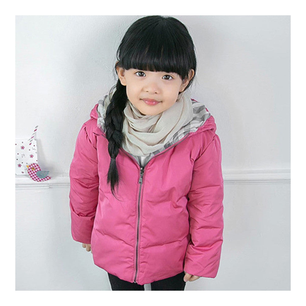 Winter Child Hooded Down Coat Boy Girl Warm    rose red  90cm - Mega Save Wholesale & Retail - 1