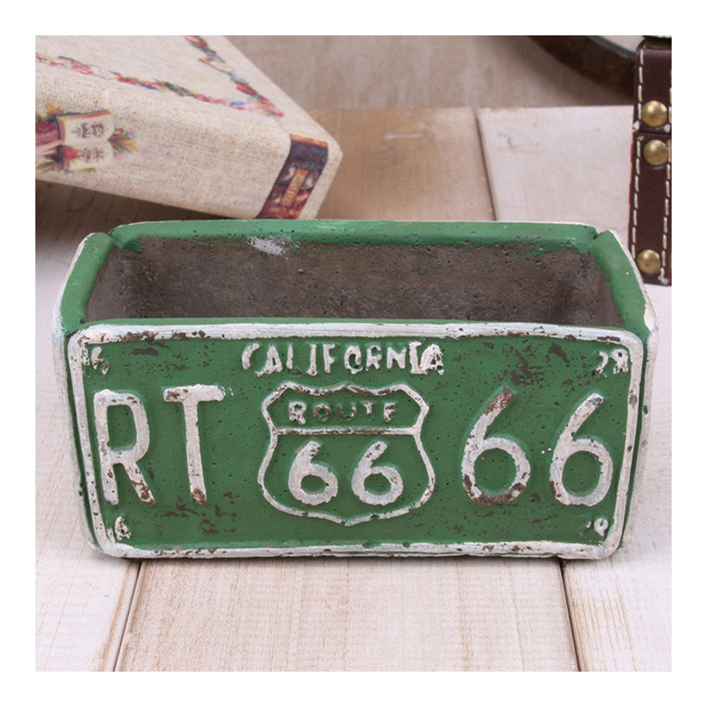 Vintage Route 66 Ashtray Car Plate Ashtray Succulent Pot    green - Mega Save Wholesale & Retail