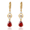 Water-drop Earrings 18K Gold Galvanized Zircon   red - Mega Save Wholesale & Retail - 1