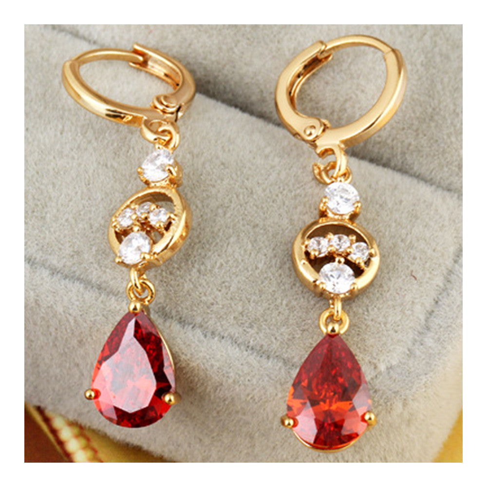 Water-drop Earrings 18K Gold Galvanized Zircon   red - Mega Save Wholesale & Retail - 2