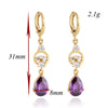 Water-drop Earrings 18K Gold Galvanized Zircon   red - Mega Save Wholesale & Retail - 3