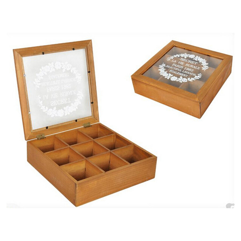 Zakka Retro Vintage 9 Cabinets Jewelry Storage Wooden Box Clear Cover    Yellow petals - Mega Save Wholesale & Retail - 1