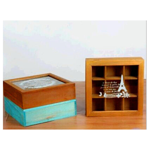 Zakka Retro Vintage 9 Cabinets Jewelry Storage Wooden Box Clear Cover    Yellow Tower - Mega Save Wholesale & Retail - 1