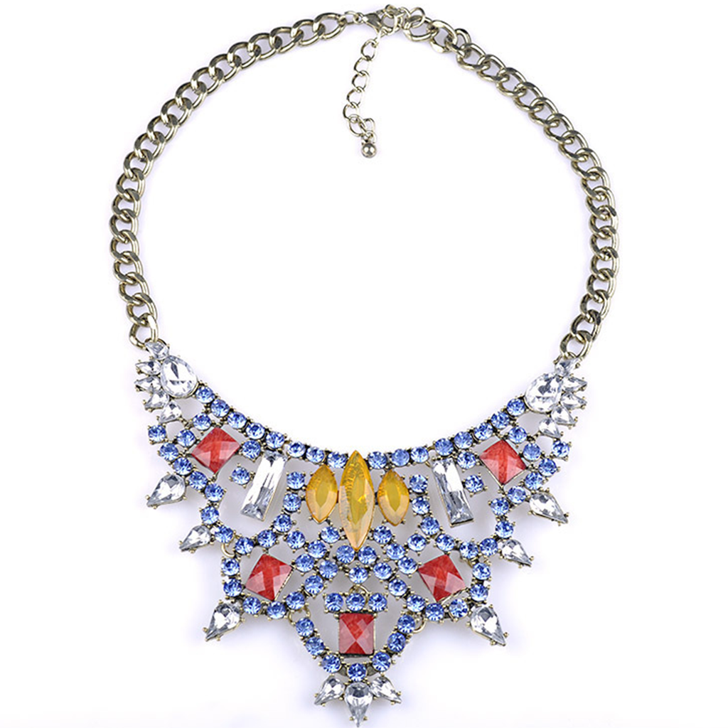 New European Big Brand Vintage Necklace Fashionable Hollow Zircon Fake Collar Short Necklace     yellow - Mega Save Wholesale & Retail - 1