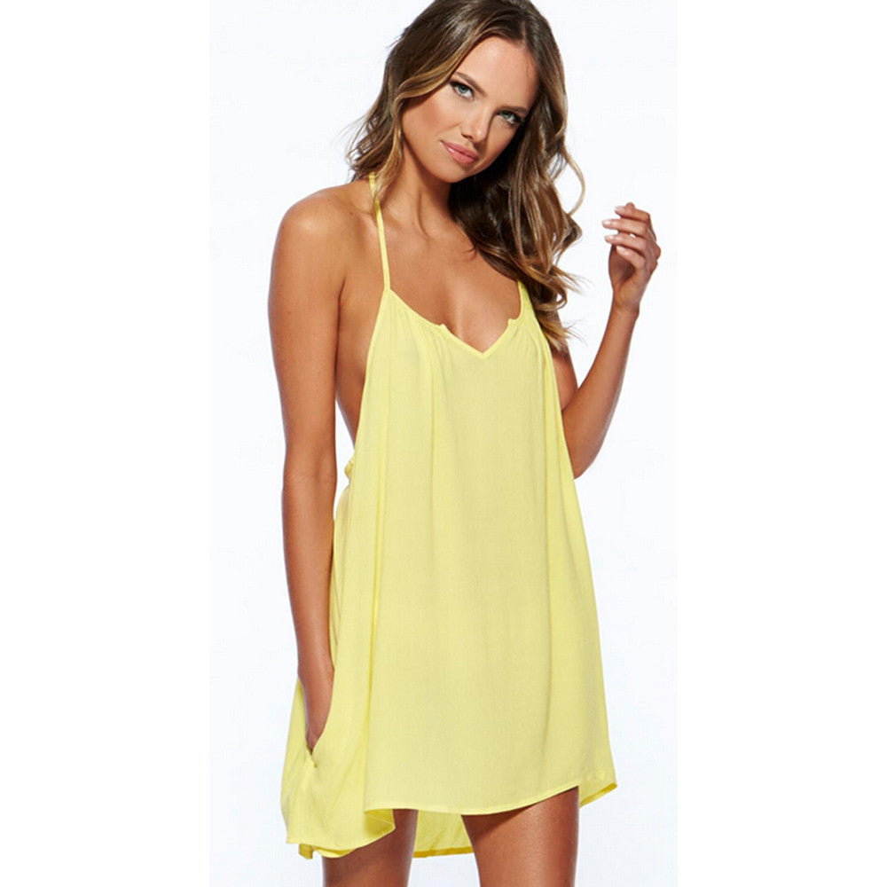 Sexy women Summer Casual Cotton Sleeveless Evening Party Beach Dress Short Mini Dress Yellow - Mega Save Wholesale & Retail - 1