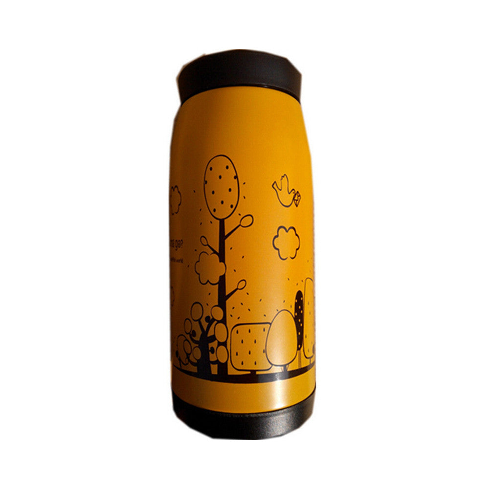 Stainless Steel Vacuum Flask Bottle Water Coffee Thermos Big Belly Shape 12oz    yellow - Mega Save Wholesale & Retail - 1